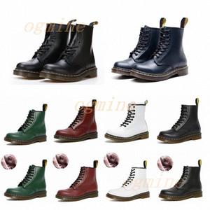 doc dr marten martens  para hombre clásico dr martin diseñadores de las mujeres tobillo Negro blanco cereza Martins moda de combate botas de invierno dama zapatos de cuero liso