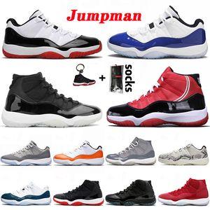 air jordan retro 11 11s Blue Legend Hommes Femmes 11s Jumpman Retro 11 Chaussures de basket haut gris argent métallisé Vast Concord Low Snakeskin - Baskets blanches