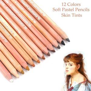 Professional Skin Tints Soft Pastel Colored Pencils 12 pcs for Portrait Drawing Color Pencils For Kids Artist School Supplies 201223