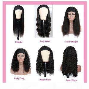 인간의 머리카락 캡 스패프 가발 페루 버진 머리 머리띠 검은 전체 기계 바디 웨이브 깊은 파도 곱슬 곱슬 곱슬 스트레이트 100 % 인간의 머리카락 10-32inch