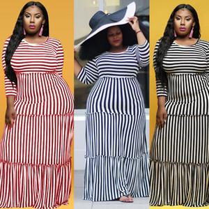 Artı Boyutu 4XL Beyaz Siyah Çizgili Elbise Kadınlar Yaz Uzun Maxi Boho Ruffles Elbiseler Rahat Uzun Kollu Vintage Vestidos Sonbahar