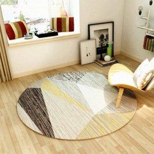 Round nordique géométrique Tapis moderne Chambre Salon Cchair Antiderapant décoratif Tapis de sol Lbqw #