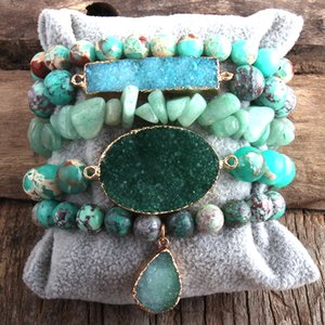 RH Fashion Designer Boho Druzy Stones Beaded Bracelet Natural Stone Druzy Charms 5pc Bracelets Sets For Women Gift DropShip 0930
