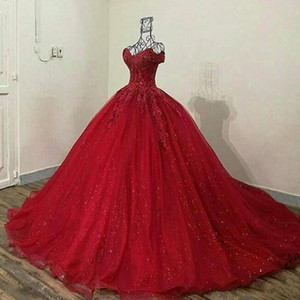 2020 Red 3D Lace Appliqued Quinceanera Dresses Off Shoulder Sweet 16 Ball Gown Tulle Prom Dress Quinceanera Gowns with Lace up Back