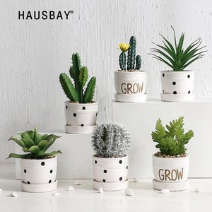 Artificial Plant Living Room Cactus Ornaments Succulent Potted Decoration Green Plant Flower Desktop Green Micro Landscape 05543