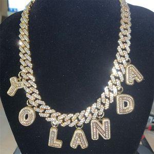 HIP HOP DIY Выявление 12 мм S-Link Miami Cuban Ожерелье Багет Письмо Подвеска Браслет Лодыж Браслет Choker Ювелирные Изделия Оптом Собственный стиль 201013