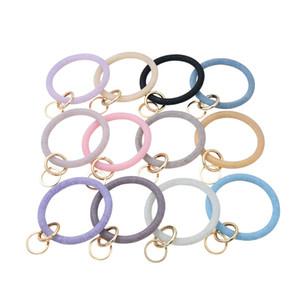 Silicone Wrist Key Ring Fashion Glitter Bracelet Sports Keychain Bracelets Bangle Round Key Rings Large O Cute Keyring Gifts