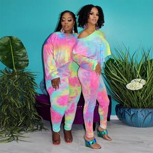 Tie Dye Plus para mujer Outsuits de primavera y verano del O-Cuello ocasional del diseñador flojo caliente mujeres de la venta Dos conjuntos de piezas