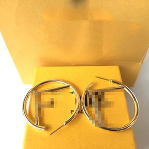 Luxary große Ohrringe F neue Ankunfts-hochwertige Mode Ohrstecker Hip Hop Titan Stahl Ohrring-Gold-Silber-Band für Frauen Schmuck Großhandel