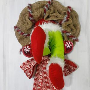 Guirnalda de Navidad Decoraciones de Navidad Thief robó la corona de arpillera de Navidad Hecho a mano Floral Puerta de la puerta de entrada Envío gratis
