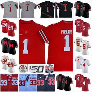 Mens Ohio State Buckeyes Justin campos de futebol Jersey # 33 Mestre Teague 4 Julian Fleming 24 Shaun Wade 5 Garrett Wilson Ohio State Jersey