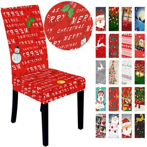 Christmas Chair Covers Dining Spandex Chairs Cover Stretch Xmas Slipcovers Elastic Christmas Decorations for Home New Year Decor