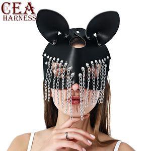 CEA Goth máscara de couro Cat BDSM máscara de couro Fetish Mulheres Maduras Rave Mulher Gato Carnaval Rosto Cosplay Fun Erótico Cadeia