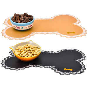 Easy Wipe Cleaning Pet Dogs Cats Bowl Mat Pad Pet Supplies Cute Bone Shape Contaier Water Bottle Feeding Placemat Puppy Bed