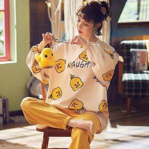 PAJAMAS LADY Cotton Lady Pijamas Manga larga Pantalones largos 2 piezas Cuello redondo Pequeño Pato amarillo Dibujos animados de dibujos animados para mujer
