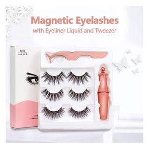 Cils magnétiques avec l'eyeliner et brucelles 3 paires 5 Faux Cils magnétique Traceur liquide de maquillage de réutilisable Cils sans colle garantie