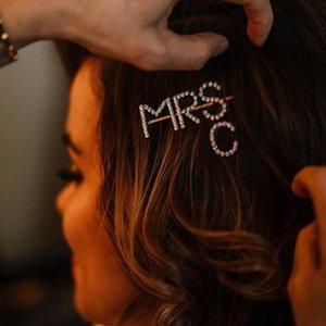 StonFans 2Pcs / Clips Set MRS A-Z Rhinestone de las horquillas del pelo regalos de la joyería de cabello personalizados Acesórios Barrettes para Letter mujeres novia
