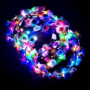 fiesta de los niños venda de la flor de luz LED encima del pelo de la guirnalda guirnaldas Hairband Mujeres de Halloween partido de la guirnalda de la Navidad que brilla Suministros KKA1524