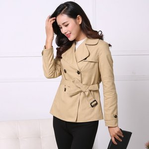 Large Lapel double-breasted Women Trench Coat 2020 Khaki Red Black Cotton Female Coats Winter Spring Outwear S M L XL 2XL