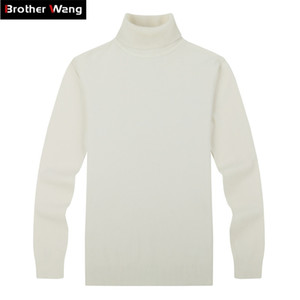 Brother Wang Brand Men's Casual Jerseys Classic Style Fashion Slim Business Turtleneck Suéter Masculino Blanco Blanco 201212