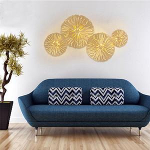 Nordic Luxury All Copper Бра листьев лотоса Творческая гостиная придел фон спальня крытый светодиодное освещение декор стен
