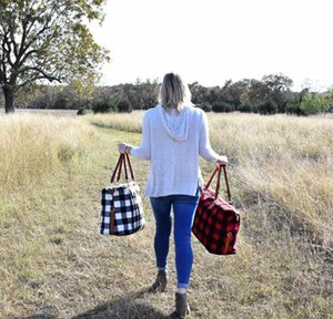 Buffalo Check Handbag Red Black Plaid Bags Large Capacity Travel Tote With Pu Handle Storage Ma bbyeil packing2010