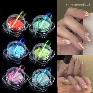 0.2g Box Aurora Nail Powder Glitter Shiny Clear Holographics Chameleon Pigment Dust Mermaid Mirror Chrome Nail Art Decorations