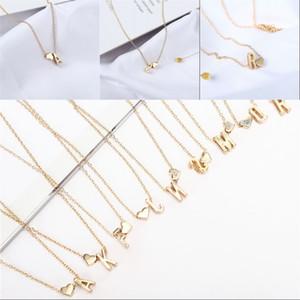 26 الأبجدية حب القلب قلادة ذهبية فضية اللون المرأة سلسلة الفولاذ المقاوم للصدأ المختنقون هدية 1 3yx G2B