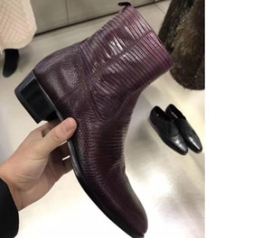 2020 new wine red boots men real leather boots snake skin print leather ankle shoes high top zip up men party boots