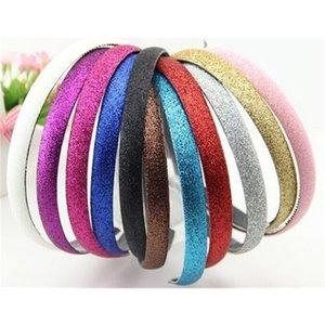 Glitter Girls Hair Clasp Headband For Women Satin Plastic Non-slip Glitter Hair Band Hair Band Head Hoop 70pcs 201106