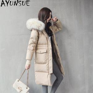 AYUNSUE Woman Coat 2020 Winter 80% white Duck Down Jackets Women Clothes Real Raccoon Fur Collar Parkas Female Jacket Casaco