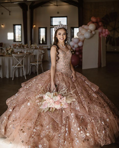 Gül Altın Lüks Quinceanera Elbise 2021 Sparkly Sequins Boncuk Kolsuz Parti Balo Prenses Tatlı 16 Balo Vestidos De 15 Años