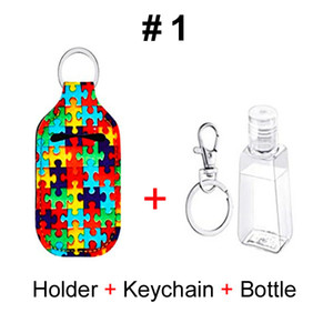 Neoprene Hand Sanitizer Bottle Sets Holder & Keychain & 30ml Bottle Printed Hand Soap Bottles Holder Key Ring Bag Lipstick Holder Kids Girl