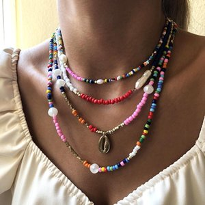 Baroque Pearl Chains Necklace 4Pcs Bohemia Natual Beads Choker Necklace for Women Gothic Shell Pedant Jewelry