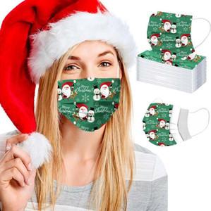 Взрослый респиратор одноразовый рождественский снеговик лицо маска с эластичной ушной петлей 3 PLY дышащая для блокировки пыли воздуха антиобязательность маска