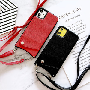 Lanyard Crossbody Wallet Phone Case For iPhone11 XS MAX XR X7 8 Plus Leather Card Slot With Shoulder Strap Transparent TPU Case
