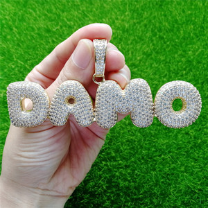 High Quality Bling Ice Out CZ Diamond Bubble Letter Custom Name Pendant Necklace with 24inch Rope Chain for Men Women Hot Birthday Gift