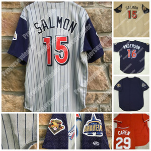 15 2001 Anaheim Rawlings 100 Seasons Mike Trota Garret Anderson Joe Mauer Rod Carew Retriour Baseball Jersey