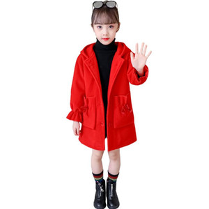 Fashion New Girls Clothes Autumn and Winter New Children Fashion Cartoon Thick Warm Medium Long Woolen Coat Jackets 3-12 Year Girl coat