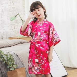 2020 Spring Summer Children Satin Robes Kimono Bath Robe Kids Flower Print Girl Silk Bathrobe Kids V-neck Lace-up Nightgownsda