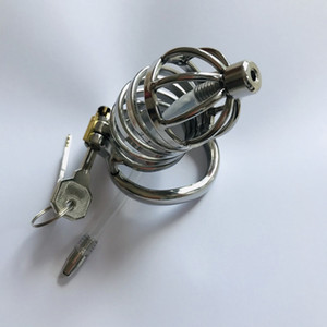 Stainless Steel Male Chastity Belt Penis Restraint Locking Cage with Urethral Insert Metal Cock Devices For Men Gay SM Sex Toys