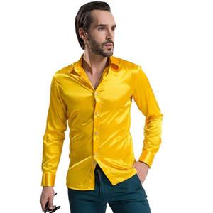 Men's Casual Shirts 2021 Fashion Dressing Shirt Silky Satin Silk Slim Men's Long Sleeve Groom's Party Wedding Artificial Casual1