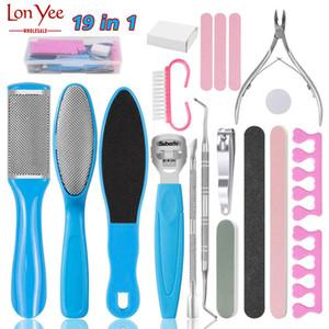 19 em 1 Professional Pedicure Tools Kit inoxidável inoxidável de pele dura Callus removedor raspador Pedicure Rasp Toenail Toenail Care Kit YL0248