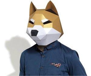 Cut ShibaInu Dog 3D Pre Halloween Costume Cosplay DIY Paper Craft Model Mask Christmas