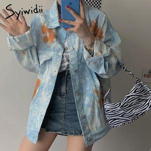 syiwidii 데님 재킷 여성 코트 의류 여성 의류 한국어 코트 컬러 블록 대형 진 재킷 겨울 201028 가을 인쇄