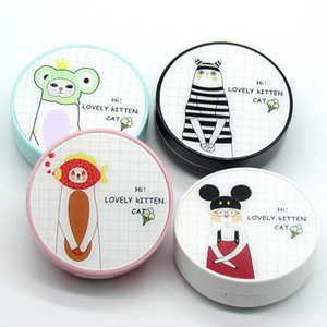 Cartoon contact lens case with mirror INS beauty lens case contact storage box as gift