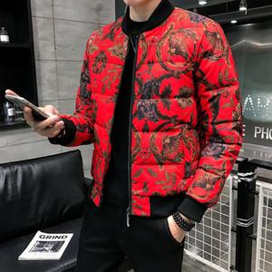 Herren Daunenjacke Business Casual Prom Outfit Men Plus-5xl Red Print Jacke Partei-Verein-Jacke