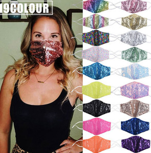 Parti Yüz Maskesi Bling Pullu Düğün Parlak Pırıltılı Glitter Yıkanabilir payetler tasarım yüz maskeleri 19 TARZLAR KKA8120