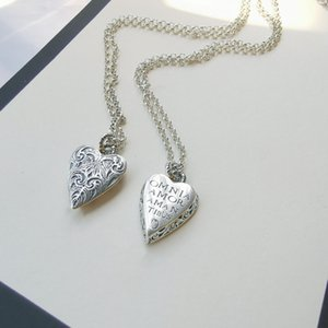 Ancient home decoration heart carved heart pendant necklace s925 sterling silver fashion men and women couple pendant