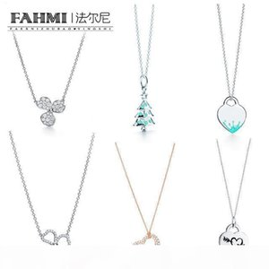 FAHMI 100% 925 Sterling Silver Christmas Tree Rose Gold Necklace Flower Rhyme Series Paved Diamond Flower Pendant Necklace Free Shipping